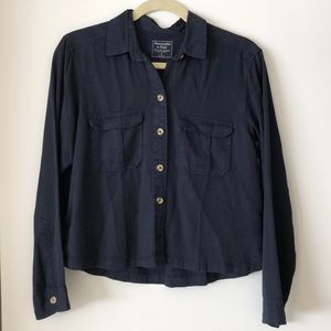 Abercrombie & Fitch Navy Blue Cropped Button down